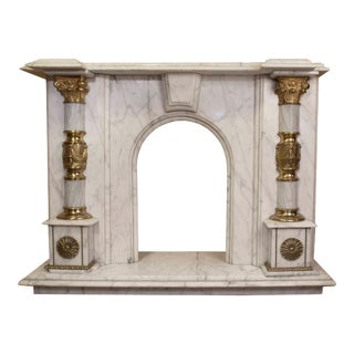 Classic Roman Marble Fireplace For Sale
