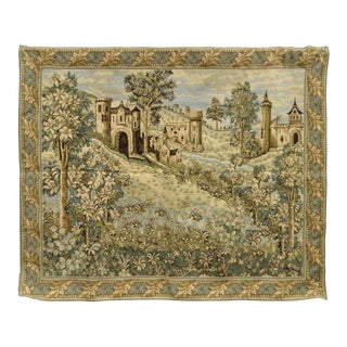 """78""""x63"""" French Wall Hanging Tapestry Jacquard Aubusson Verdure Castle Lanscape"""