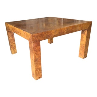 Mid-Century Burl Wood Parsons Coffee Table in the Milo Baughman Style For Sale