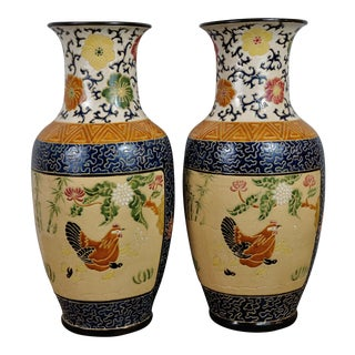 Vintage French Ceramic Vases With a Beautiful Floral Motifs - a Pair. Signed For Sale