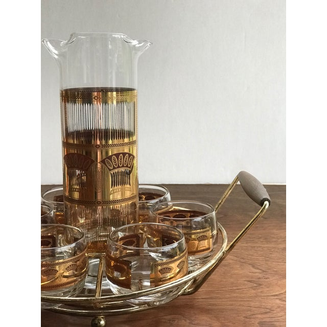 Hollywood Regency 1960s Culver Roly Poly & Drink Pitcher Set With Carrier - Set of 7 For Sale - Image 3 of 10