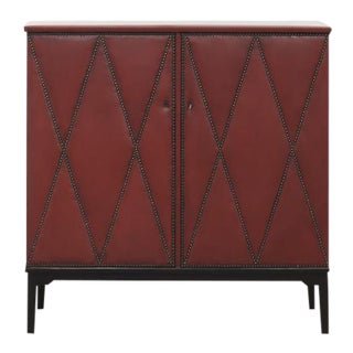 Otto Schulz Rare Red Leather Cabinet for Boet, Sweden, Ca. 1940 For Sale
