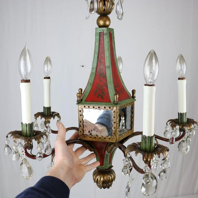 Italian Mirrored Tole & Crystal Chandelier - Image 9 of 11