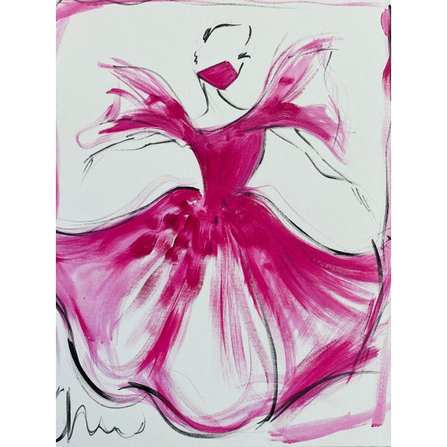 """""""Pink Hibiscus Ball Gown"""" Original Christian Siriano Painting For Sale"""