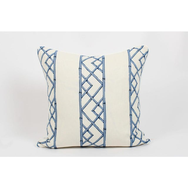 Feather Blue & Ivory Palm Beach Linen Trellis Pillows, a Pair For Sale - Image 7 of 9