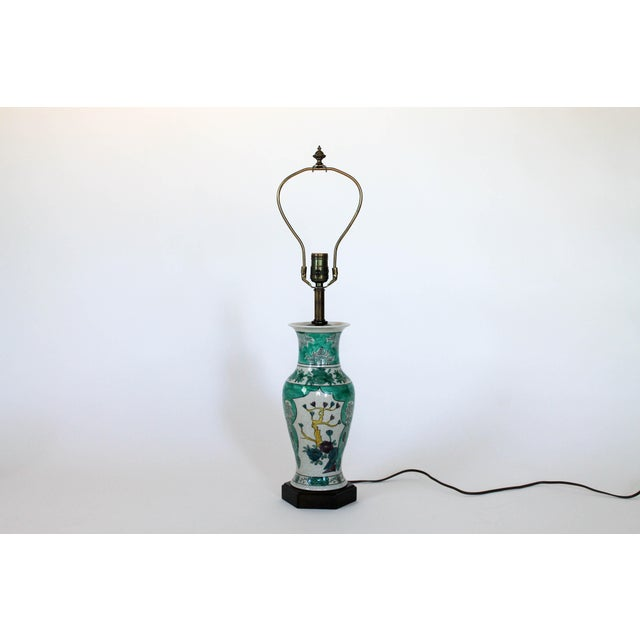Hand painted chinoiserie table lamp with original shade by Frederick Cooper Lamps, Chicago. Wired and in working...