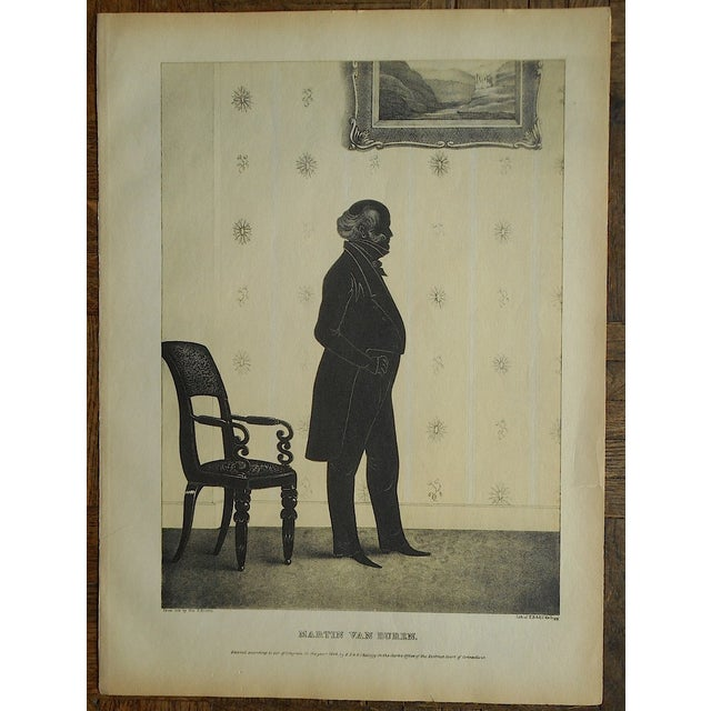 Early American Antique Silhouette Lithograph For Sale - Image 3 of 3
