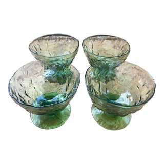 Vintage Seneca Driftwood Champagne Sherbert Glasses in Avocado - Set of 4 For Sale