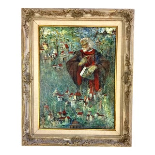 Italian Signed Oil Painting in Carved Wood Frame For Sale