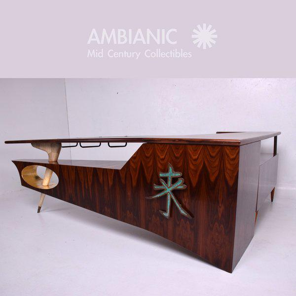For your consideration a Mid-Century desk or bar in rosewood and parchment with bronze applications. Pepe Mendoza...