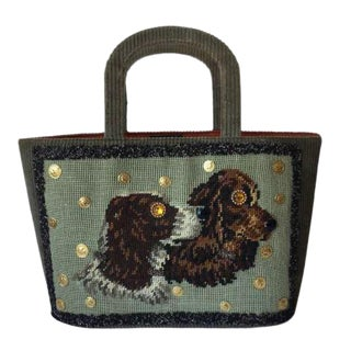 Superb Green Corduroy Tote With Needlepoint Spaniels. Saks. 1950's. For Sale