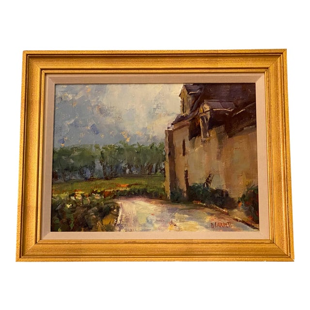 French Painting in Gilt Frame For Sale