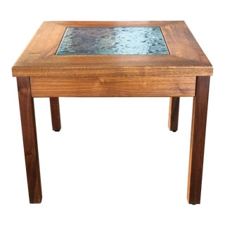 1960s Mid Century Modern John Keal for Brown Saltman Enamel and Wool Side Table For Sale