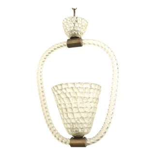 Italian 1940s Lantern With a Conical Shaped Form, by Barovier E Toso For Sale