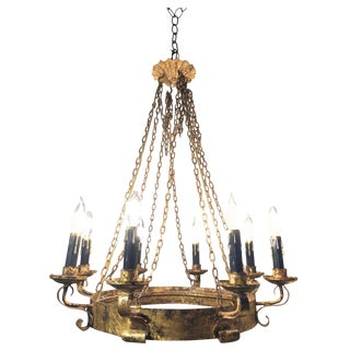 Spanish Hand Forged Gilt Wrought Iron Chandelier