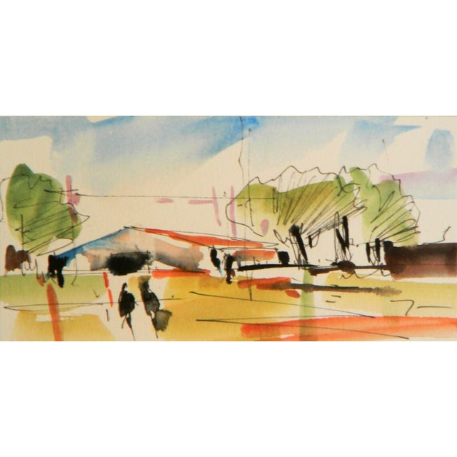 "2010s Jose Trujillo Original Expressionist Watercolor Painting - Landscape House Art - 3x6"" For Sale - Image 5 of 5"