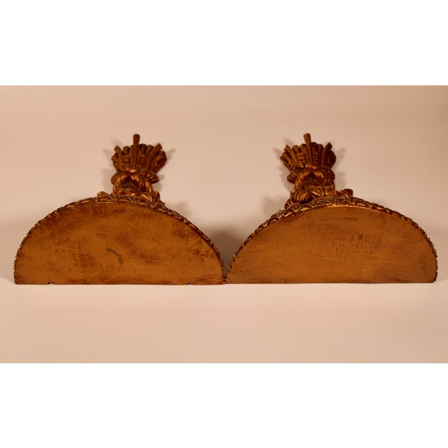 Gold 1960s Hollywood Regency Italian Golden Wheat Wall Shelves - a Pair For Sale - Image 8 of 11