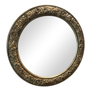 Baroque Style Gold Round Mirror For Sale