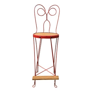 Vintage Red Iron Bar Stool For Sale