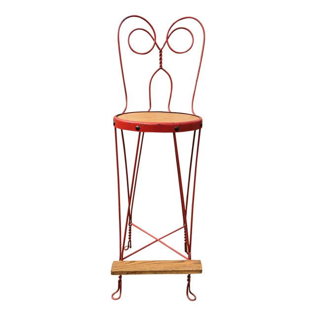 Vintage Red Iron Bar Stool - Image 1 of 6