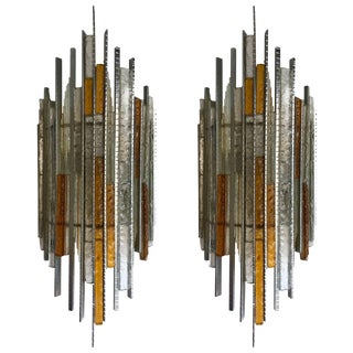 Pair of Sconces Hammered Glass Iron by Biancardi and Jordan Arte, Italy, 1970s For Sale