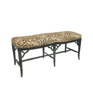 Mid Century Faux Bamboo Upholstered Bench
