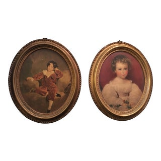 Antique Borghese Oval Gilted Plaster Frame - a Pair For Sale
