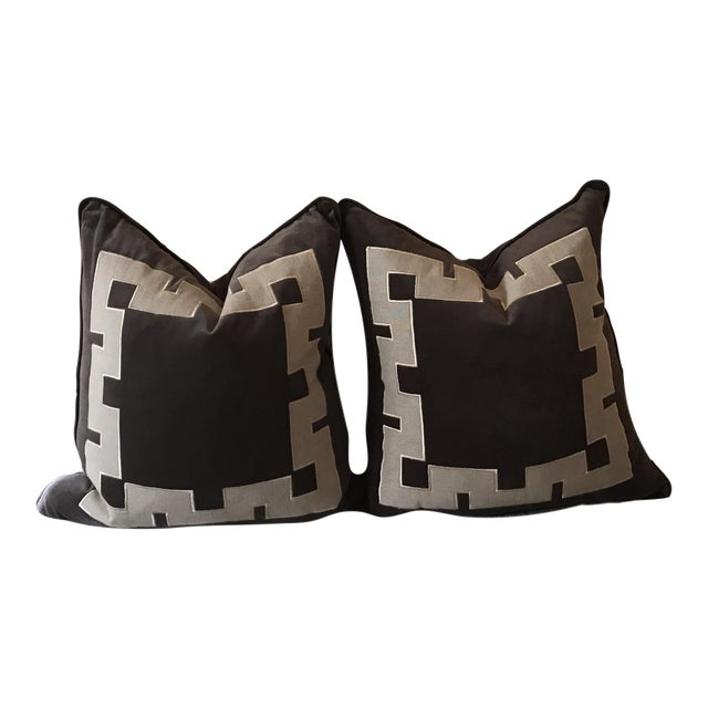 Gray Aegean Greek Key Square Velvet & Linen Pillow - A Pair - Image 1 of 5