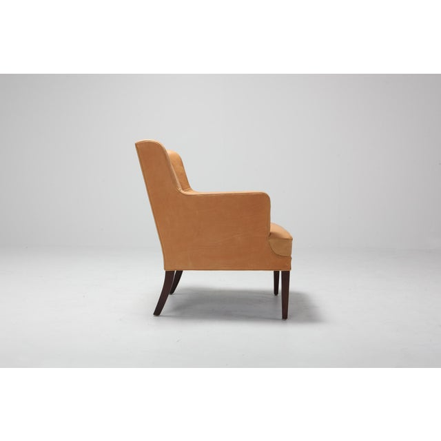 Mid-Century Modern Scandinavian Modern Bergere Chairs in Camel Leather For Sale - Image 3 of 11