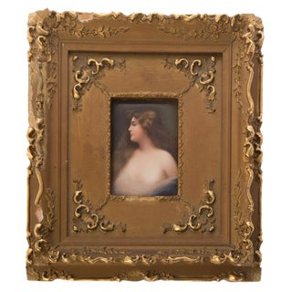 Late 19th Century Vintage German Young Beauty Porcelain Plaque Painting For Sale