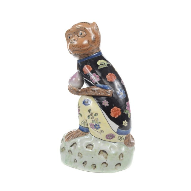 Antique Chinese Painted Porcelain Monkeys -A Pair - Image 8 of 9