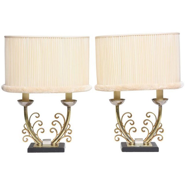 Pair of Art Deco Table Lamps in Brass and Silver with Shades, France, 1920s For Sale - Image 9 of 9
