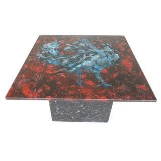 1950s Modern Fontana Arte Italian Painted Glass & Granite Coffee Table For Sale