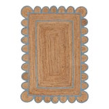 Image of Light Blue Scallop Jute Hand Made Rug - 2'x3' For Sale