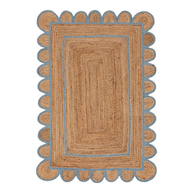 Light Blue Scallop Jute Hand Made Rug - 2'x3' For Sale