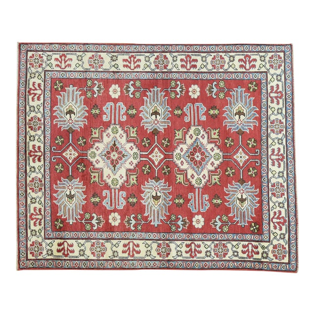 Hand-Knotted Pure Wool Geometric Design Red Kazak Rug- 5′ × 6′3″ For Sale