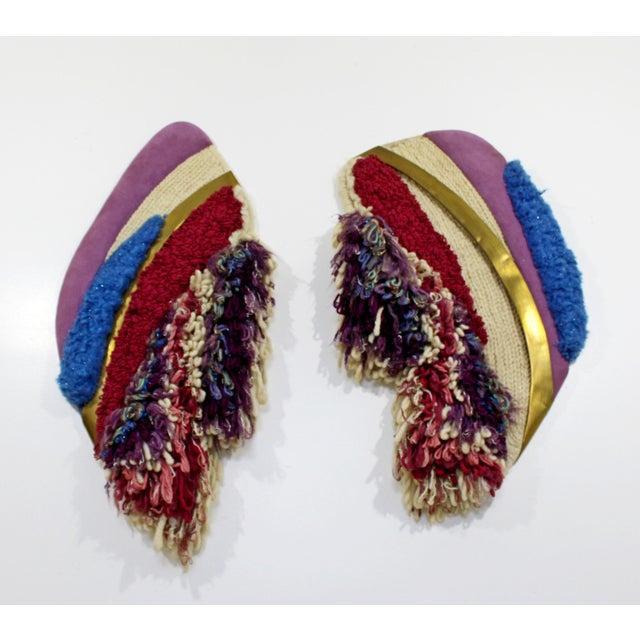 For your consideration is a fabulous pair of hanging fiber art sculptures, signed Folwer Thelen, dated 1983. In excellent...
