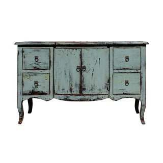 Distressed Gray Blue Credenza Console Side Table Cabinet For Sale