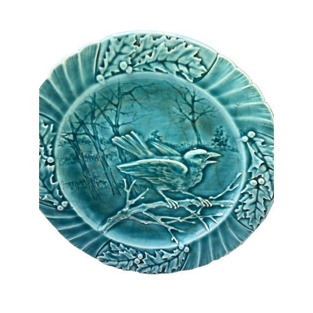 Majolica Set of Six Antique French Majolica Bird Plates - Set For Sale - Image 4 of 11