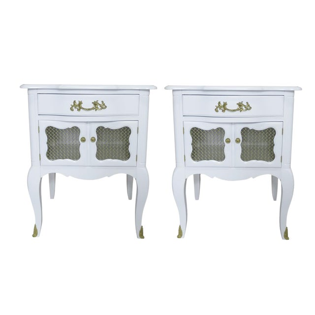 White French-Style Nightstands, Pair - Image 1 of 6