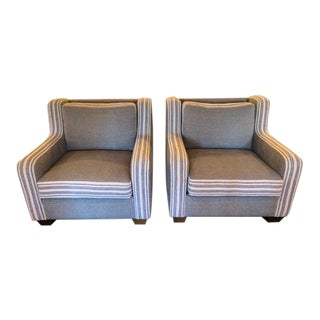 Brownstone Upholstery Shelby Striped Occasional Chairs- a Pair For Sale