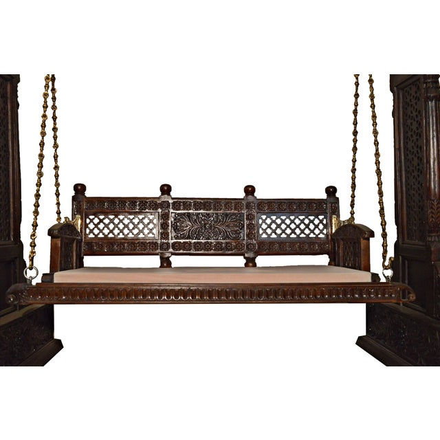 Jaisalmer jharokha design wooden carved swing set indoor for Living room jhula