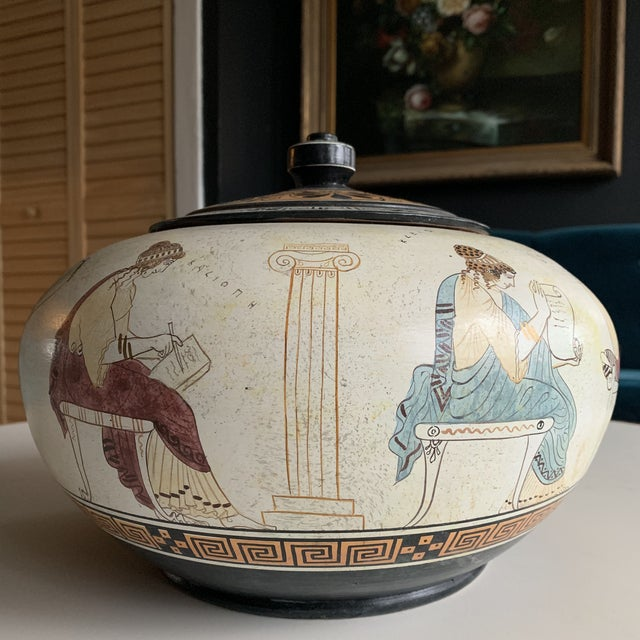 Ceramic Greek Handmade Lidded Vase With 9 Muses For Sale - Image 7 of 9