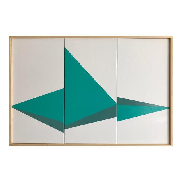 "Original Acrylic Painting ""Aqua on Point Triptych Jet0525"" - Image 1 of 5"