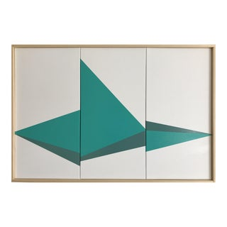 "Original Acrylic Painting ""Teal On Point Triptych JET0525"""