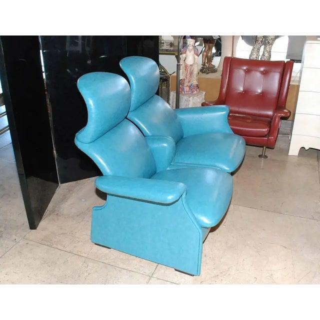 Blue Achille & Pier Giacomo Castiglioni Settee For Sale - Image 8 of 9