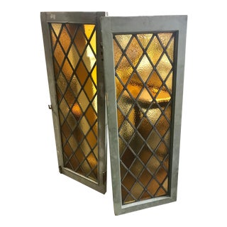 Industrial Amber Leaded Glass Windows - Set of 2 For Sale