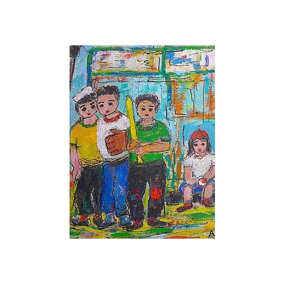 Original Oil Painting on Paper of Sandlot Kids - Image 3 of 6