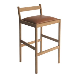 Carob Bar Stool by Sun at Six, Sienna Minimalist Stool in Oak Wood and Leather For Sale