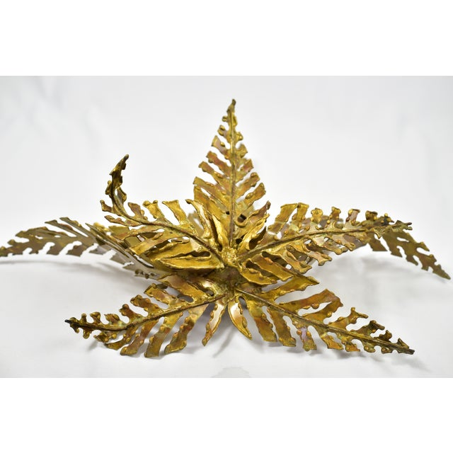 1960s Brutalist Brass Fern-Shaped Wall Sconce | Chairish